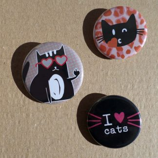 badges I love cats, chat fuck et émoticat sur fond kraft