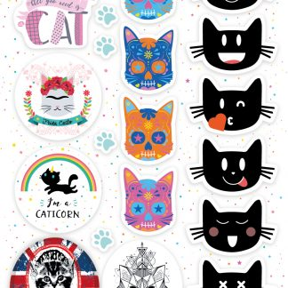Planche de 20 stickers avec les design Los gatos, émoticat, frida catlo, god save the cat...