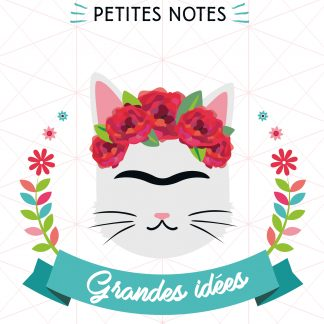 Cat Lovers - Carnet de notes Frida - Couverture du carnet portrait frida en chat - monosourcil